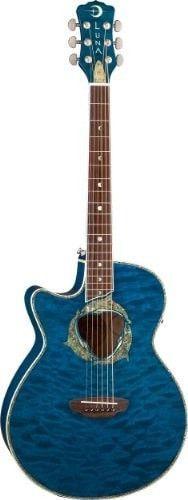 Luna FAU DPN LEFTY Fauna Dolphin Left Handed Acoustic-Electric Guitar, Trans Blue Quilt Maple