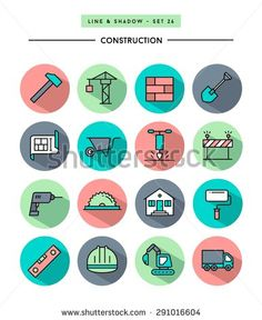 set of flat design,long shadow, thin line construction icons, vector illustration