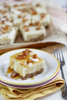No-Bake High Protein Candied Ginger Cheesecake Bars (Grain Free, Gluten Free, No Refined Sugar Added)