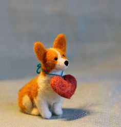 Corgi Love - Valentine's Day Felt Corgi with Plush Heart Collar. $60.00, via Etsy.