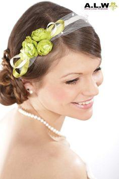 Haarreif für die Braut in Grün, Creme und Weiß von alw-design auf DaWanda.com