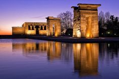 The outstanding Temple of Debod is the most unusual attraction in Madrid and the only piece of ancient Egyptian architecture in Spain. Vacation Trips, Dream Vacations, Tourist Info, Egyptian Temple, Madrid Travel, Spain Travel, European Travel, Travel Photos, Travel Destinations