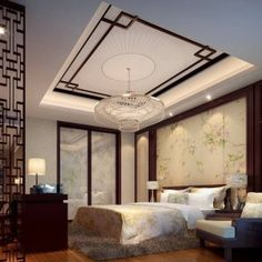 Master Bedroom Ideas Decorating With Asian Style Wall Screen And Roof And Dicvider And Indoor Plant And Modern Chandelier , Decorating Master Bedroom Ideas In Bedroom Category