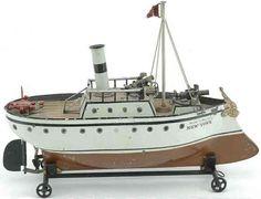 Märklin Tin-Ships New York Cannon Boat, painted tin clockwork ship with brass