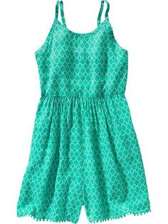 Girls Patterned Poplin Rompers Product Image
