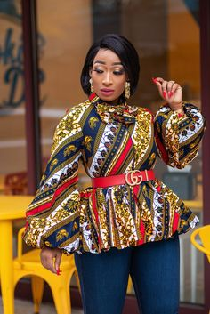 Looking for a statement African blouse that's glamorous, sexy and wow? Get a load of our stunning collection of Ankara blouses. African Wear Dresses, African Fashion Ankara, Latest African Fashion Dresses, African Print Fashion, African Attire, African Outfits, Latest Fashion, Ankara Peplum Tops, Ankara Blouse
