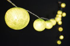 35 Lights - Lawn Green Cotton Ball String Lights Fairy Lights Patio Lights Wedding Lights Decoration Lights