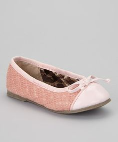 L'Amour Shoes Pink Quilted Bow Flat by