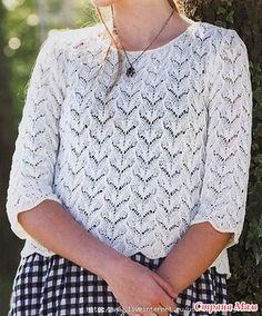 Ажурный пуловер с рукавами до локтей. Спицы.