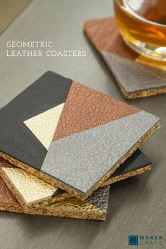 Geometric Leather Coasters | These coasters are the perfect way to add a modern touch to your home while keeping your tabletops protected. I love the combination of black and metallic leather; I think it adds just the right amount of flash. You can use the templates provided to replicate the design or create your own. | Maker Crate