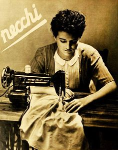Necchi sewing machine ad, 1940 I have a modern one and love it. Vintage Advertisements, Vintage Ads, Vintage Images, Treadle Sewing Machines, Antique Sewing Machines, Vintage Italian Posters, Vintage Sewing Notions, Sewing Art, Vintage Travel