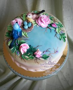 Ideas Cupcakes Decoration Blue Desserts For 2019 Gorgeous Cakes, Pretty Cakes, Cute Cakes, Amazing Cakes, Bird Cakes, Cupcake Cakes, Foto Pastel, Decoration Patisserie, Spring Cake