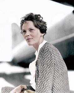 Amelia Earhart. (Colorized Photo).