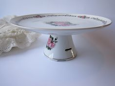 Sale Pretty Pink and Green Floral Vintage San Francisco Music Box Cake Stand