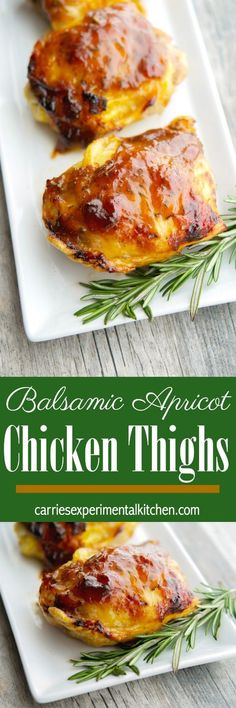 Apricot preserves combined with balsamic vinegar; then brushed on chicken thighs and baked is a deliciously simple weeknight meal idea that the entire family will love. GF