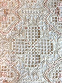 'Ivory Blush' Hardanger design by Jill Dixon Hardanger Embroidery, Embroidery Stitches, Embroidery Patterns, Hand Embroidery, Doily Patterns, Dress Patterns, Types Of Embroidery, Learn Embroidery, Drawn Thread