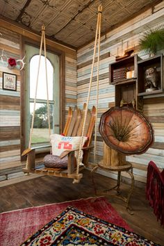 hanging ski chair swing Junk Gypsies' Treehouse-to-Guesthouse Makeover | Junk Gypsies | GAC