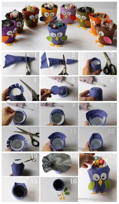"""Per la serie """"diamo un nuovo senso alla vita di un vasetto di Yogurt"""" oggi un bel tutorial di Clara che ricicla, è ci spiega come fare, i vasetti di yogurt e li fa diventare dei simpaticissimi guf"""