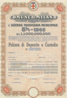 COMUNE DI MILANO - #scripomarket #scriposigns #scripofilia #scripophily #finanza #finance #collezionismo #collectibles #arte #art #scripoart #scripoarte #borsa #stock #azioni #bonds #obbligazioni