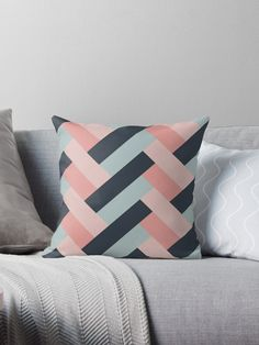 'Navy Blue and Pink Geometric Design' Throw Pillow by thelustrous Cute Cushions, Scatter Cushions, Decorative Throw Pillows, Patchwork Pillow, Quilted Pillow, Navy Pillows, Baby Room Decor, Pillow Design, Quilting Projects