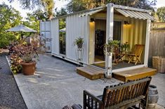 shipping-container office in a Portland backyard