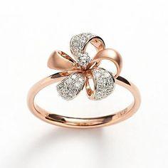 Elements by EFFY 14k Rose Gold 1/5-ct. T.W. Diamond Flower Ring