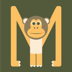 Letter M // Animal Alphabet // Monkey Art Print by Jen Montgomery | Society6