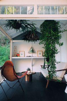 See how we transform a plain shed into a backyard retreat. Shed Interior, Interior And Exterior, Interior Design, Bohemian House, Modern Backyard, Backyard Ideas, Backyard Retreat, Backyard Studio, Tool Sheds
