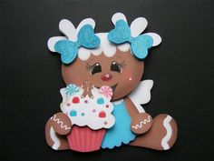 Handmade 3D Ginger with a Cupcake Embellishment!  Scrapbooking