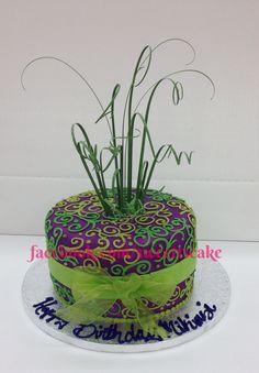 "8"" triple stacked fondant with swirls, love these colors :) Madri Gra cake, New Orleans, birthday cake, celebration cake, anniversary cake, wedding cake."