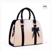 New 2014 Women Messenger Bags Fashion Bow PU Women Leather Handbag 8 colors Ladies Totes 29 * 12 * 22.5cm bolsas(China (Mainland))