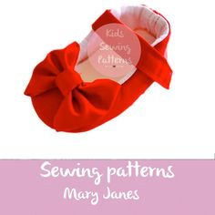 Pdf sewing patterns for children/ newborn shoes with baby bow/ red shoes for girls/mary jane shoes for girls/ girls shoes size 0m-12m/