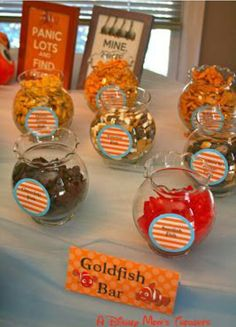My favorite part of this party was the Goldfish Bar! Who knew there were so many different kinds of goldfish! :) A Disney Mom& Thoughts: Finding Nemo First Birthday Party Food Elmo Birthday, First Birthday Parties, First Birthdays, Birthday Ideas, Mermaid Birthday, Birthday Quotes, Birthday Gifts, Birthday Cake, Adoption Party