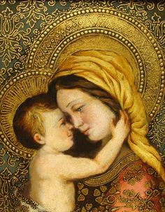 Madonna with Child Embracing - Diana Mendoza Blessed Mother Mary, Divine Mother, Blessed Virgin Mary, Virgin Mary Art, Virgin Oil, Religious Pictures, Religious Icons, Religious Art, Mama Mary