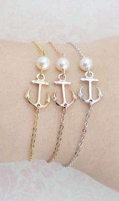 Anchor Bracelet with Swarovski Pearl