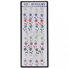 Silver Plated Crystal Rhinestones Flower Jewelry Lady Earrings Ear Studs 13mmx7.7mm