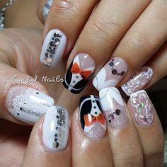 Bridal shower nail art design