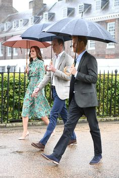 August 30, 2017 ~ Catherine, Duchess of Cambridge, Prince William, Duke of Cambridge and Prince Harry walk to the sunken garden on the grounds of Kensington Palace that is in honor of the late Diana, Princess of Wales.