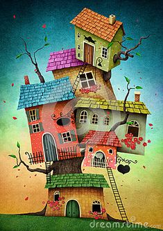 Find Illustration Unreal Tree House Card Book stock images in HD and millions of other royalty-free stock photos, illustrations and vectors in the Shutterstock collection. Art Fantaisiste, House Illustration, Happy Paintings, Owl Paintings, House Drawing, Naive Art, Whimsical Art, Art Lessons, Watercolor Art