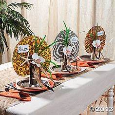 Cute how they used the Safari Animal Print Fans to decorate the table here. Safari Wedding, Safari Theme Party, Jungle Party, Jungle Theme, Party Themes, Party Ideas, Event Ideas, Theme Ideas, Jungle Centerpieces