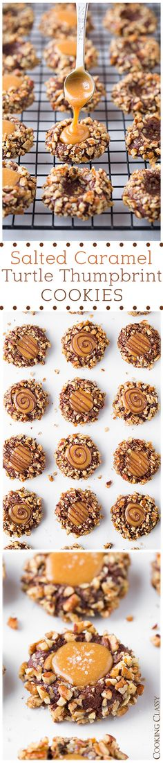 Salted Caramel Turtle Thumbprint Cookies - These are a must on the holiday cookie list! Dessert for family. Yummy Cookies, Yummy Treats, Sweet Treats, Baking Cookies, Just Desserts, Delicious Desserts, Yummy Food, Think Food, Love Food