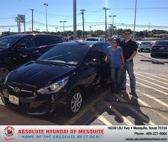Thank you to Denise Reyna on your new 2013 Hyundai Accent from Vonnie Mayberry and everyone at Absolute Hyundai!