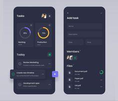 Mobile Application - Task Manager by Andrey Rybin on Dribbble News Web Design, App Ui Design, Mobile App Design, Task Manager, App Design Inspiration, Mobile App Ui, Apps, Ui Kit, App Development