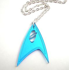 Star Trek Blue Geek Lasercut Necklace Sci Fi Jewelry, Next Generation Accessory, Spock Costume, Science Officer, Into Darkness Inspired via Etsy I'm loving this... Mother's Day