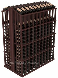 """Wooden 280 Bottle Double Reveal Aisle Wine Cellar Rack Storage Kit in Redwood with Walnut Stain by Wine Racks America®. $736.37. Easy-edge Bottle Holders:Measuring 11/16"""" x 11/16"""" x 12 5/16"""" long - thicker and longer than the competition and your wine bottle labels won't tear because of the smooth, hand-sanded edges where the bottles lay.. Choose From either Pine, Redwood, or Mahogany along with optional Industry Leading Quality Eco-Friendly Stains Paired with an Immaculat..."""