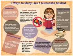 9 Ways to Study Like A Successful Student: All good ideas: Don't cram, Turn off your phone, get 8 hours sleep, read your textbooks, take breaks, be an active learner, user methods that work for you, find a study group, focus on 1 subject at a time.