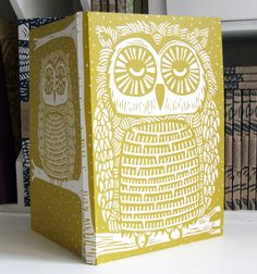 Owl linocut Eco Journal, recycled £15.00