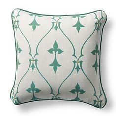 Inspired by antique French gates, the delightful Sunbrella® Bexley Frame Jade Outdoor Pillow is sure to spruce up any outdoor setting.    Frontgate: Live Beautifully Outdoors