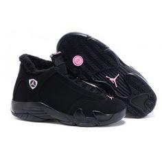 Women Nike Air Jordan 14 Retro With Velvet Black New Jordans Shoes, Pumas Shoes, Nike Shoes, Jordan Shoes For Women, Air Jordan Shoes, Jordan Sneakers, Jordan 14, Retro Sneakers, Slippers
