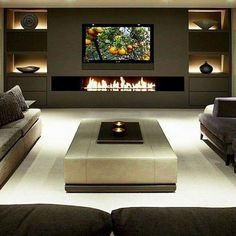 36 Amazing TV Wall Design Ideas For Living Room Decor - homepiez - 36 Amazing T. - 36 Amazing TV Wall Design Ideas For Living Room Decor – homepiez – 36 Amazing T… – 36 Ama - Fancy Living Rooms, Living Room Tv, Living Room With Fireplace, Living Room Designs, Tv With Fireplace, Fireplace Screens, Fireplace Inserts, Modern Fireplace, Fireplace Design
